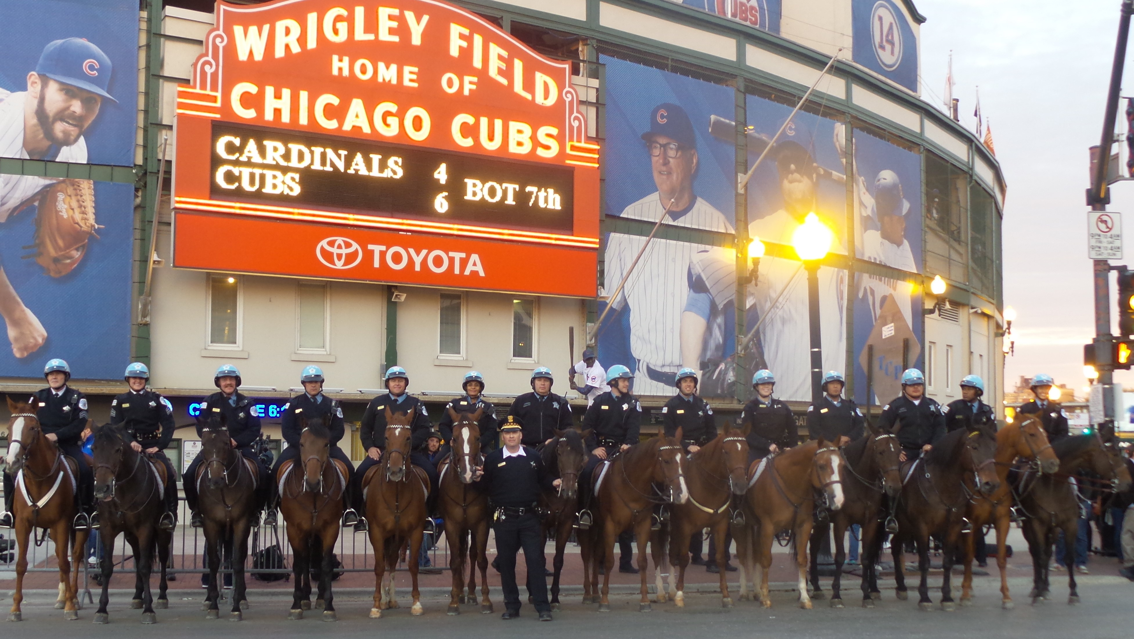The Mounted Unit  A Day At A National League Division Series Game - Chicago map showing wrigley field